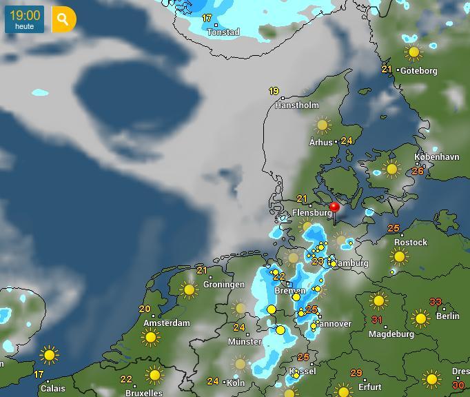 Wettervorhersage für 19:00 Uhr, Wetteronline, abgerufen um 16:00 Uhr: Sonnog, leichtes Gewitterrisiko, 25°C.